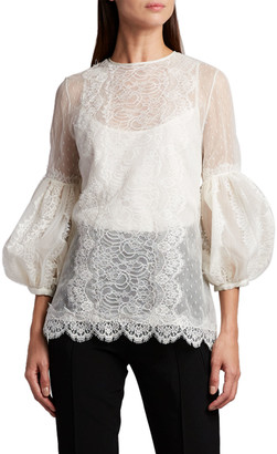 Andrew Gn Balloon-Sleeve Scallop-Edge Blouse