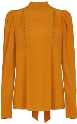 Givenchy Silk Orange Pussy Bow Blouse