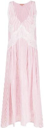 Ermanno Scervino Lace-Detail Vertical Stripe Long Dress
