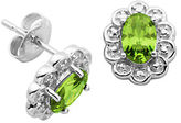 Lord & Taylor August Birthstone Perdot Cubic Zirconia and Sterling Silver Stud Earrings
