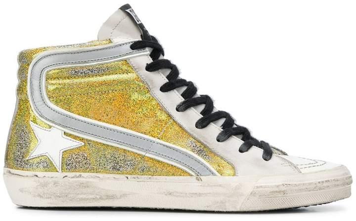Golden Goose Cedro glitter-panelled sneakers
