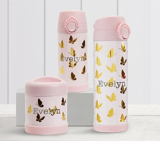 Pottery Barn Kids Mackenzie Pink Gold Foil Butterflies Hot Cold Container