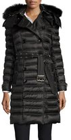 Burberry Chesterford Double-Breasted Fur-Hood Quilted Coat, Black