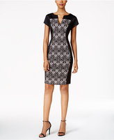 Connected Lace-Panel Sheath Dress