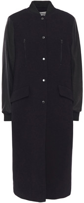 BA&SH Paneled Wool-blend Crepe And Faux Leather Coat