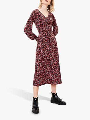 Oasis Rose Floral Print V-Neck Midi Dress