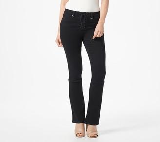 Laurie Felt Petite Black Silky Denim Lace Front Boot-Cut Jeans