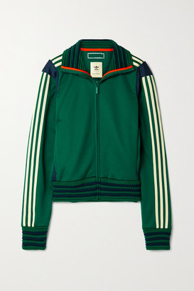 adidas + Wales Bonner Lovers Rock Ribbed-knit And Crochet-trimmed Tech-jersey Track Jacket - Emerald