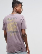 Asos Longline T-Shirt With Distressing And Japanese Dragon Back Print