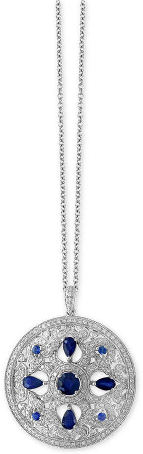Effy Royale Bleu by Sapphire (1-3/4 ct. t.w.) and Diamond (9/10 ct. t.w.) Pendant Necklace in 14k White Gold, Created for Macy's