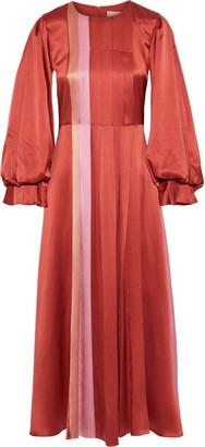 Roksanda Mina Pleated Printed Silk-satin Midi Dress