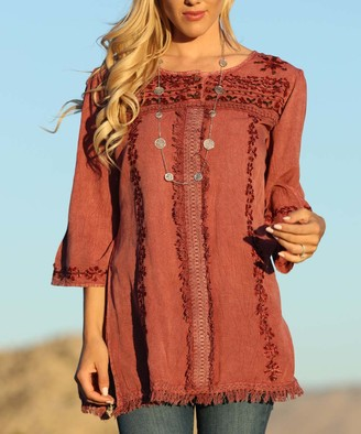 Ananda's Collection Women's Tunics rose - Rose Floral Embroidered Fringe-Hem Button-Front Tunic - Women