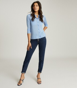 Reiss Nancy - Twin Pocket Jersey Shirt in Blue