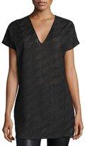 CNC Costume National Short-Sleeve Mesh Tunic, Black
