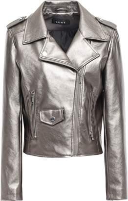 DKNY Metallic Faux Leather Biker Jacket