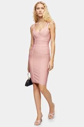 Topshop Blush Bodycon Bandage Midi Dress