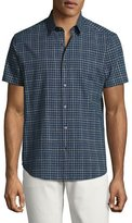 Theory Zack S. Balance Check Short-Sleeve Sport Shirt, Blue