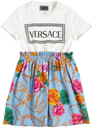 Versace Logo Print Cotton Jersey & Poplin Dress