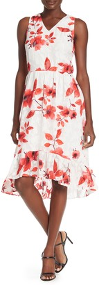 ECI Sleeveless Floral Fit & Flare Dress