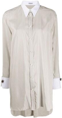 Brunello Cucinelli Striped Long-Length Shirt