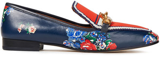 Tory Burch Floral-print Leather And Jacquard-knit Loafers