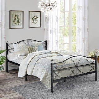 Overstock Antique Graceful Dark Black Victorian Iron Bed by VECELO