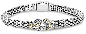 Lagos 18K Gold and Sterling Silver Newport Knot Bracelet with Diamonds