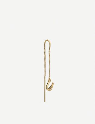 Rachel Jackson Initial U 22ct gold-plated sterling silver vermeil single earring