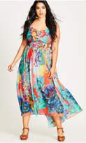 City Chic Hot Summer Days Printed Chiffon Maxi Dress