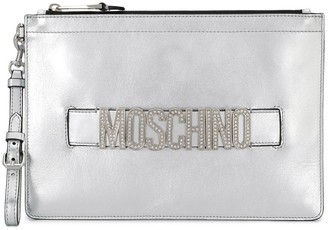 Moschino Crystal-Embellished Logo Clutch Bag
