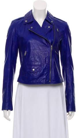 c86a885278 Theory Blue Women's Leather Jackets - ShopStyle