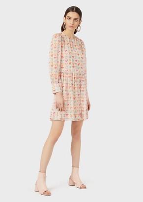 Emporio Armani Silk Chiffon Dress With Watercolour Eagle