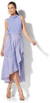 New York & Co. Mixed-Stripe Ruffle Dress - Tall