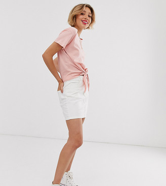 Miss Selfridge Petite denim mini skirt in white-Cream