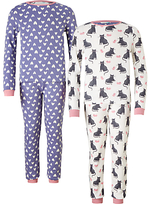 John Lewis Children's Cat and Mouse Pyjamas, Pack of 2, Blue/White