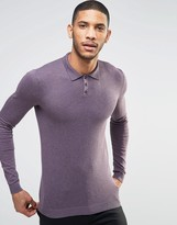 Asos Muscle Fit Knitted Polo in Purple