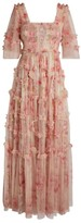 Needle & Thread Ruby Bloom Smocked Tulle Gown