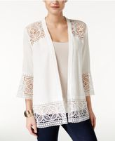 NY Collection Petite Open-Front Lace Cardigan