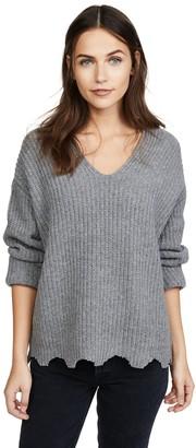 Moon River Women's V Neck Chunky Sweater