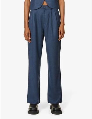 Aya Muse Herringbone wide-leg high-rise wool-blend trousers