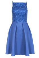 Quiz Royal Blue Sequin Embellished High Neck Short Dress