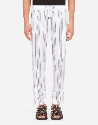 Dolce & Gabbana Striped Stretch Cotton Jogging Pants