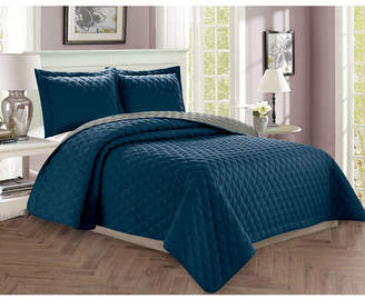 Elegant Comfort Luxury 2-Piece Bedspread Coverlet Diamond Design Quilted Set with Shams - Twin/Twin Xl Bedding