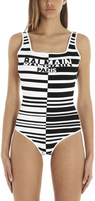Balmain Logo Striped Bodysuit