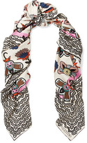 Valentino Printed Silk-twill Scarf - Off-white