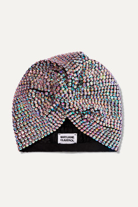 MaryJane Claverol Honore Crystal-embellished Stretch-cotton Turban - Silver
