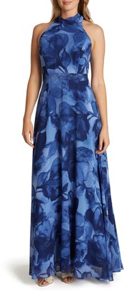Tahari Watercolor Print Halter Neck Chiffon Gown