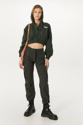 BDG Khaki Nylon Patch Pocket Cargo Trousers - Green 7 at Urban Outfitters