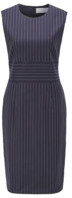 HUGO BOSS Pinstripe Shift Dress In Traceable Wool With Stretch - Patterned