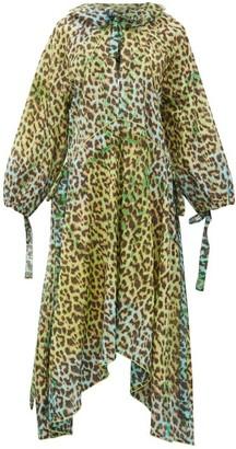 Juliet Dunn Neck Tie Leopard Print Cotton Dress - Womens - Green Print